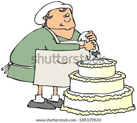 Cake decorator - stock photo