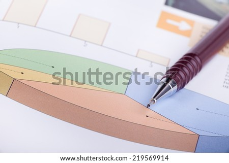 Cake diagram with pencil pointing statistics concept - stock photo