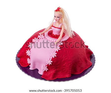 Cake doll for girls at birthday. On a white background.