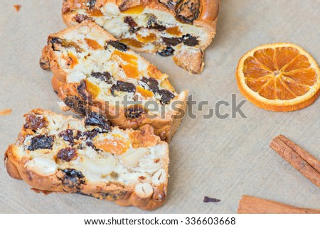 Cake for holidays on the baking paper - stock photo