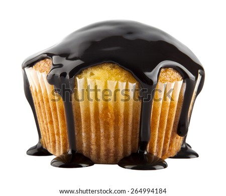 cake in a chocolate on a white background - stock photo