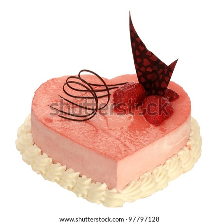cake in the shape of heart with very on the white background - stock photo