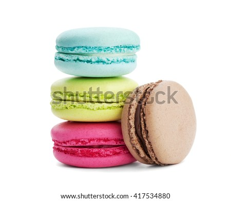 Cake macaron or macaroon isolated on white background, sweet and colorful dessert - stock photo