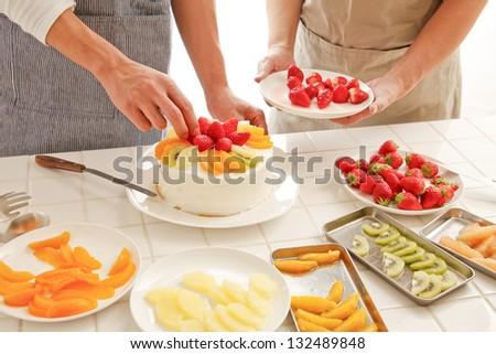 Cake making - stock photo