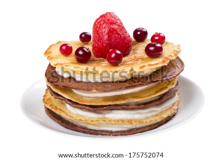 Cake of pancakes with fresh berries isolated on white  background