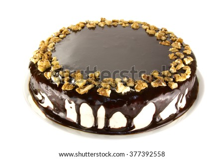 cake on a plate is isolated on a white background - stock photo