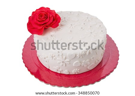 Cake on Valentine's Day. Red rose. - stock photo