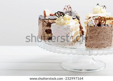 cake on white wooden background - stock photo