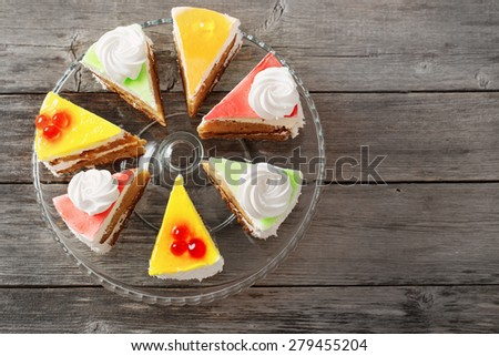 cake on wooden table - stock photo