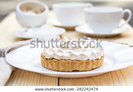 Cake or Lemon pie with meringue - stock photo