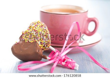 Cake-pops heart-shaped for Valentine's Day and Wedding - stock photo