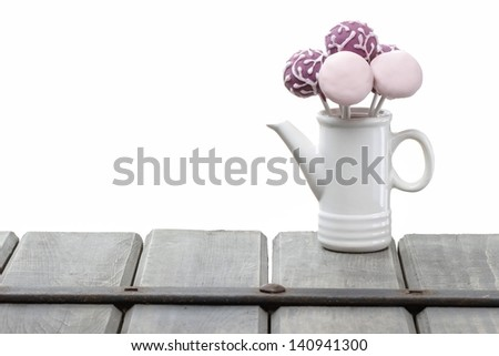 Cake pops isolated on white background. Copy space - stock photo