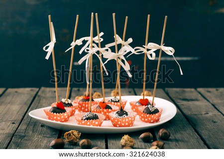 Cake pops. Selective focus and small depth of field. - stock photo