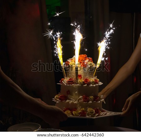 Cake Sparklers Festive Wedding Cake Decorated Stock Photo 642442360