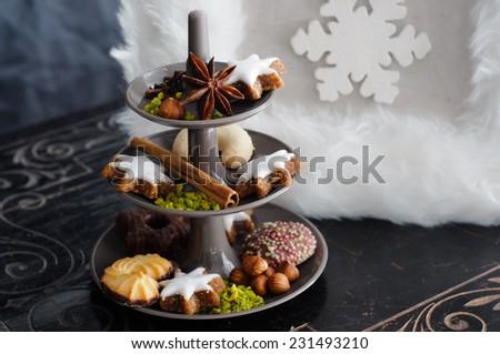 Cake stand Christmas Cookies - stock photo