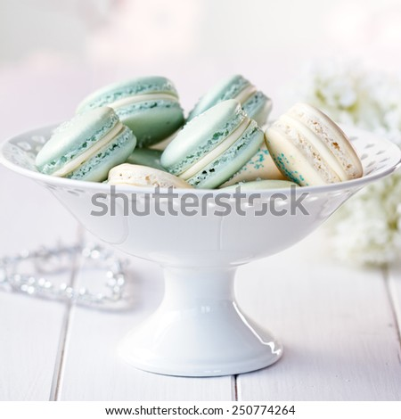 Cake stand filled with macarons