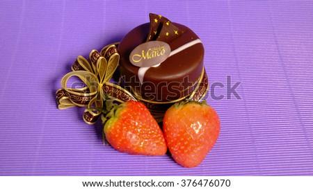 cake strawberry - stock photo