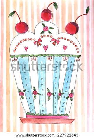 Cake watercolor illustration