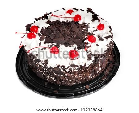 cake, whole round black forest isolated . baked goods cherry cream chocolate design on white  - stock photo