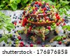 Cake wild fresh berry fruits - stock photo
