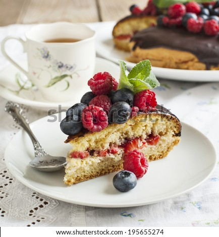 Cake with berries - stock photo