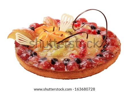 Cake with berries on the white background. - stock photo
