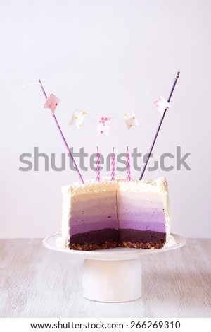 cake with blueberries and lavender, beautiful birthday cake, delicious homemade cakes, celebration.  - stock photo
