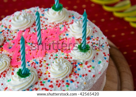 Cake with candles for birthday