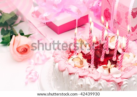 cake with candles, pink, gifts, roses - stock photo