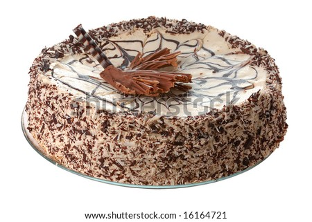 cake with chocolate  and  coconut crumbs isolated on white - stock photo