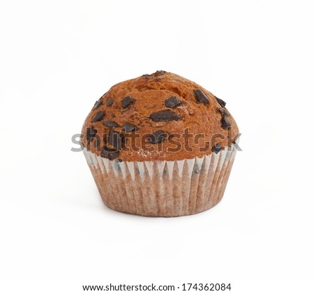 Cake with chocolate chips isolated on white - stock photo
