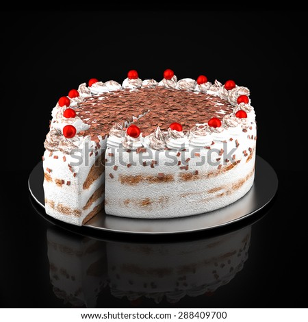 Cake with chocolate chips on a black background - stock photo