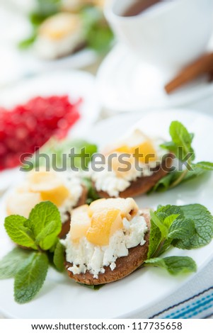 Cake with cream cheese and pear,  close up - stock photo