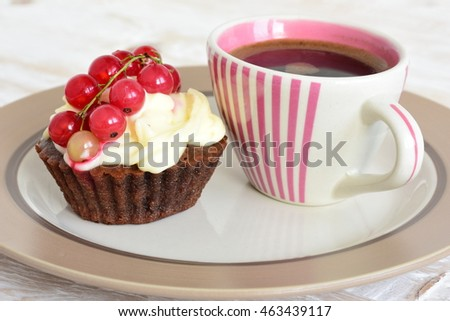 Cake with currants and coffee . Cake sweet dessert