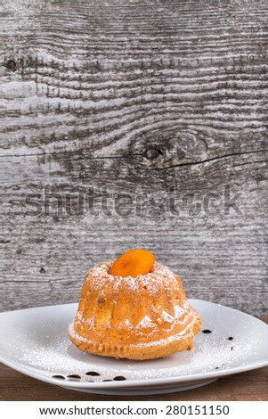 Cake with dry apricot and sugar powder on the white plate on wooden table. Selective focus. - stock photo