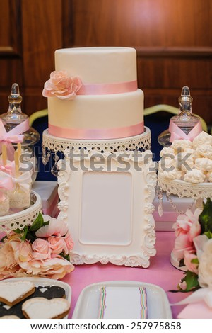 cake with frame for your text. - stock photo