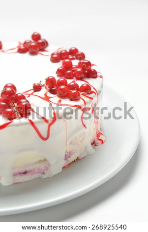 cake with fresh red currants, close-up - stock photo