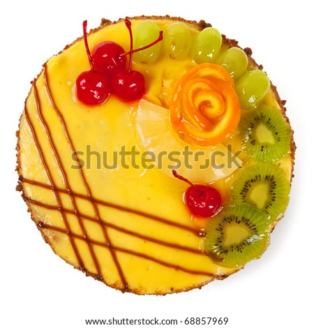 Cake with fruits isolated on white