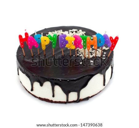 cake with happy birthday candles isolated on white background - stock photo