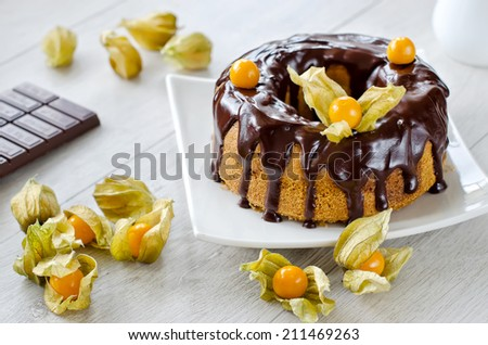 Cake with liquid chocolate on a plate wooden background