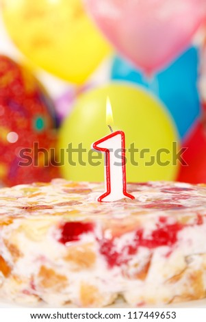 Cake with number 1 candle