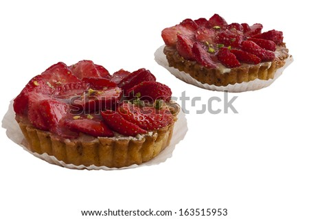 cake with strawberry on a white background