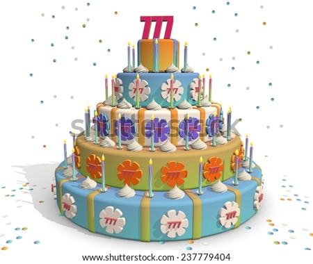 Cake with the number on top. Colorful cake with confetti, candles and flowers. Celebrating an anniversary - stock photo