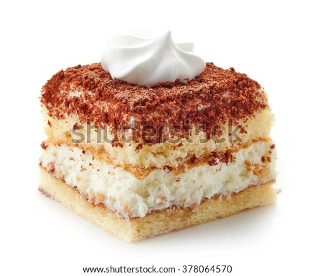 cake with whipped cream isolated on white background - stock photo