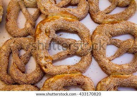 cakes and German pretzel - stock photo