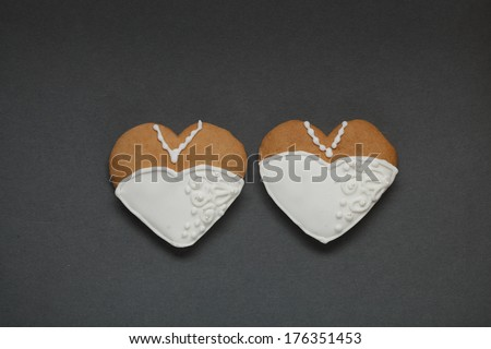 Cakes for groom and bride - Stock Image