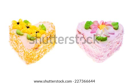 Cakes isolated on white. - stock photo