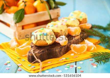 Cakes on a table, Selective focus, Copy space.
