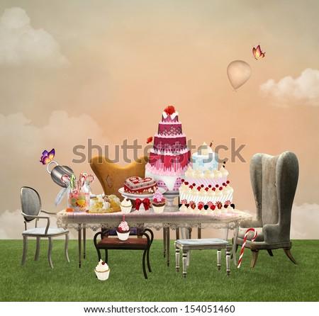 Cakes party - stock photo