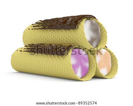 Cakes wafer rolls with a cream. 3D model isolated on a white background